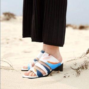HOPP Painterly Three Strap Sandal Size 8 Women's